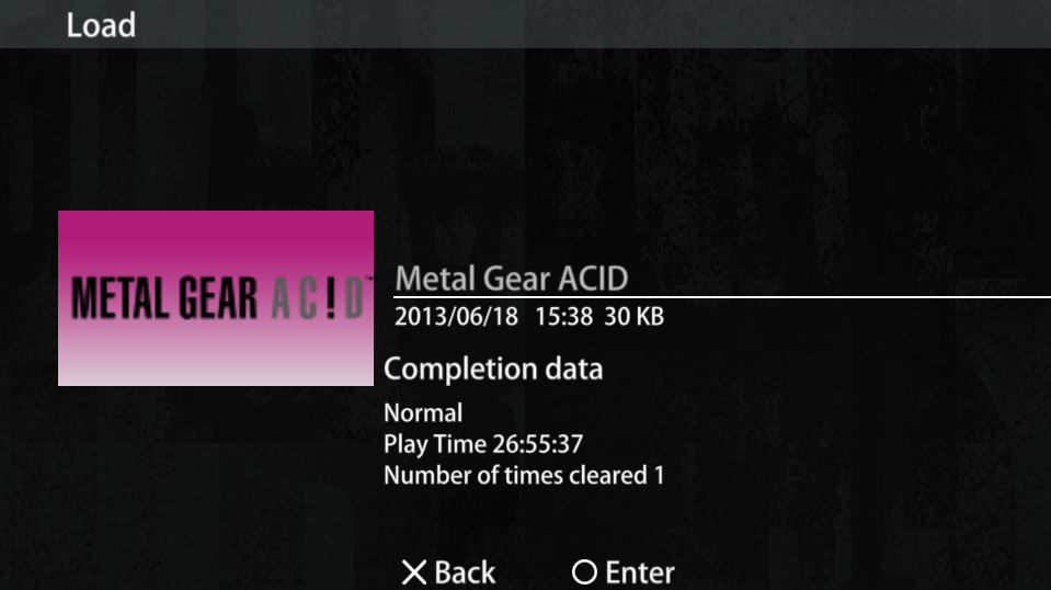 Metal Gear Acid - (Completed Game) Load File, Select Extreme